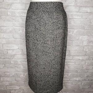 NWT Lafayette 148 Virgin Wool Zipback Midi Skirt 8